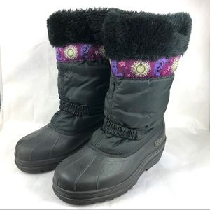 Sorel black snow boots purple detail size 4